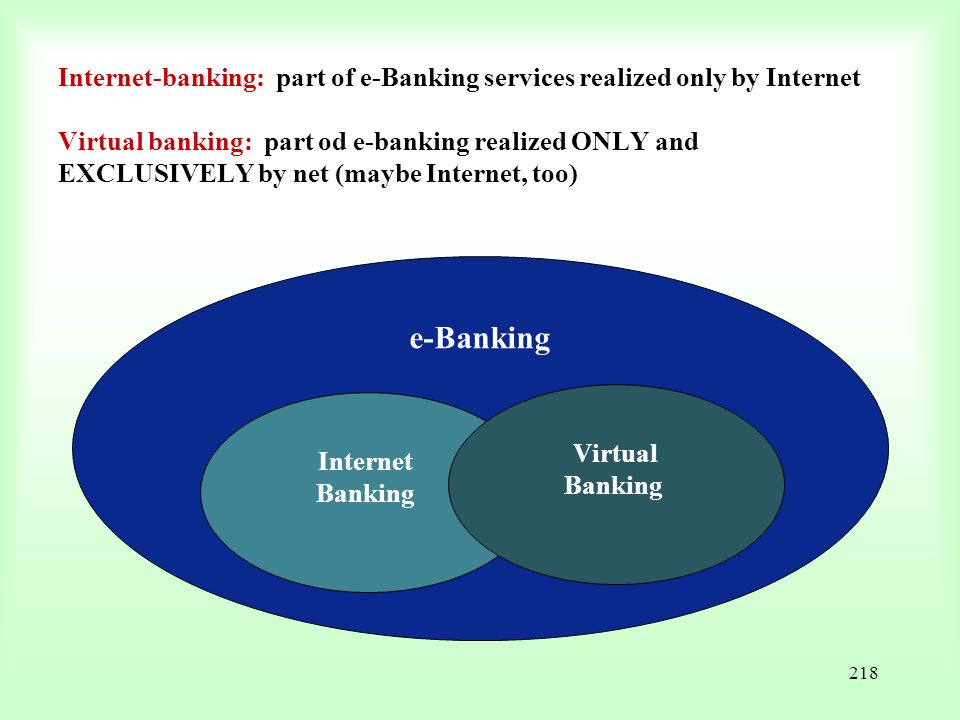 Internet-banking: part of e-Banking services realized only by Internet Virtual banking: part od e-banking realized ONLY and EXCLUSIVELY by net (maybe Internet, too)