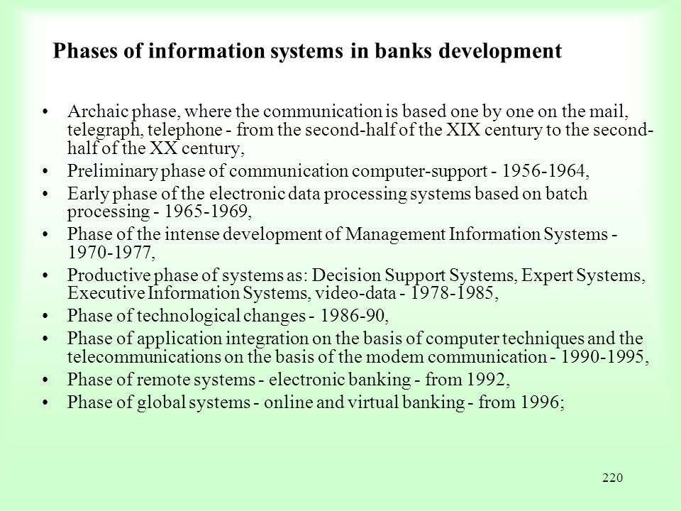 Phases of information systems in banks development