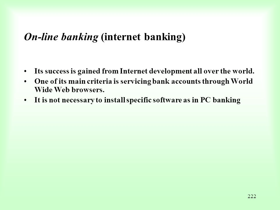 On-line banking (internet banking)