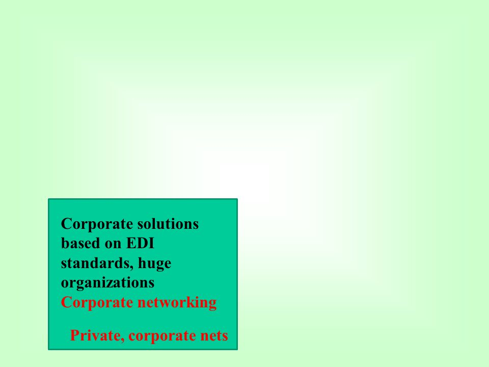 Corporate solutions based on EDI standards, huge organizations