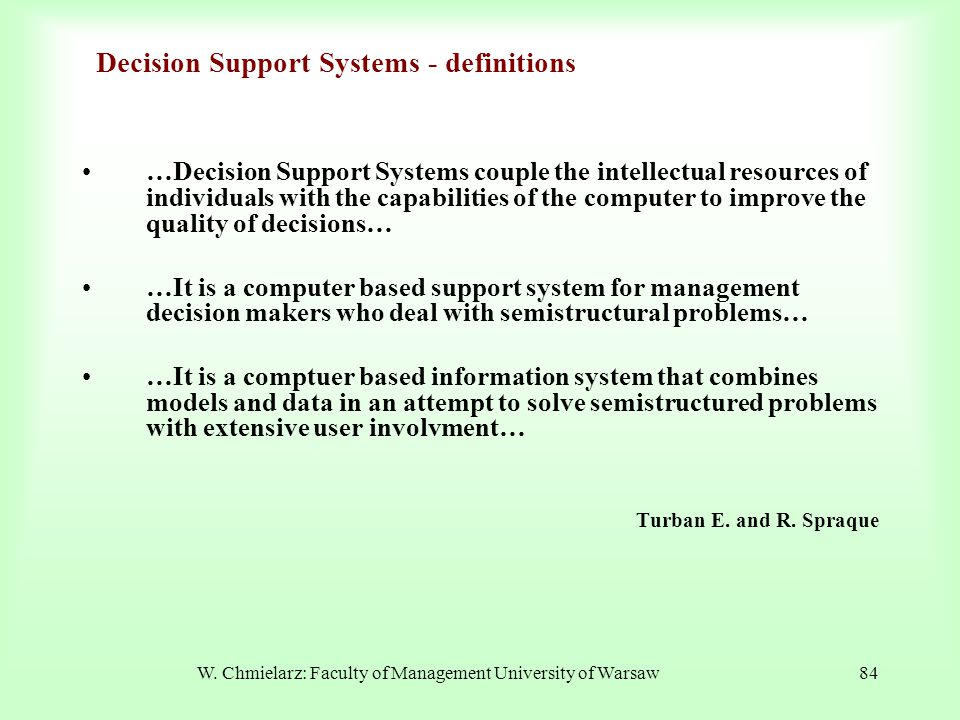 Decision Support Systems - definitions