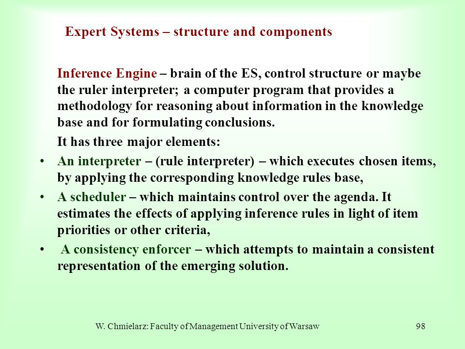 Expert Systems – structure and components