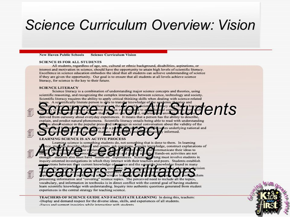 Science Curriculum Overview: Vision
