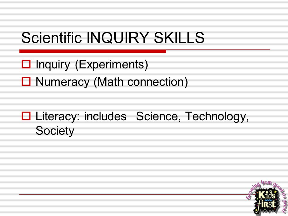Scientific INQUIRY SKILLS
