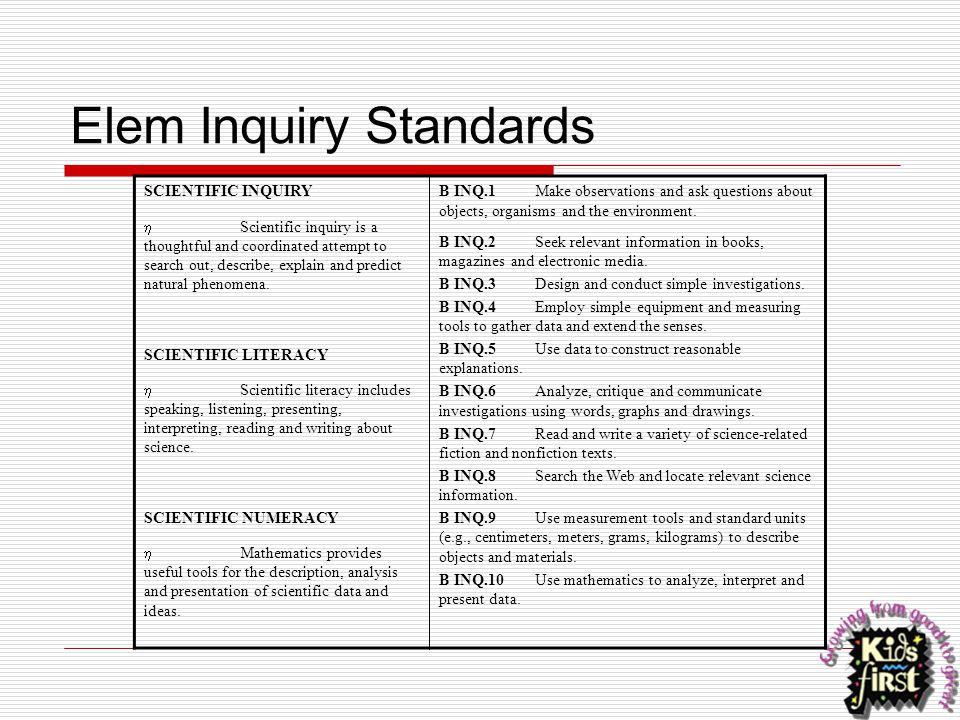 Elem Inquiry Standards