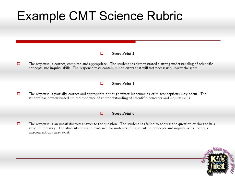 Example CMT Science Rubric