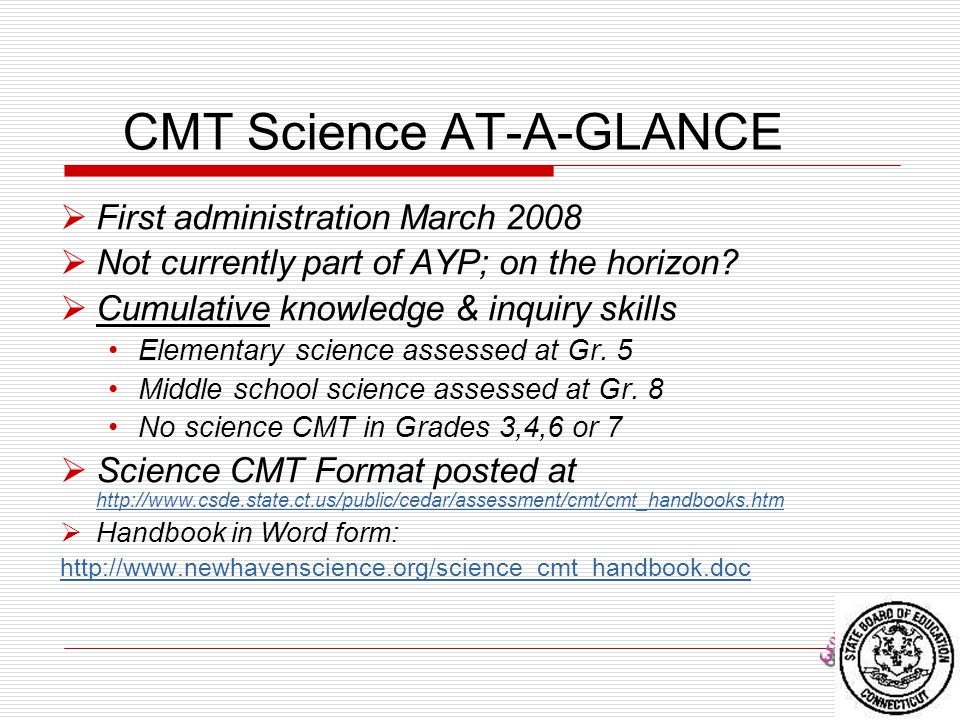 CMT Science AT-A-GLANCE
