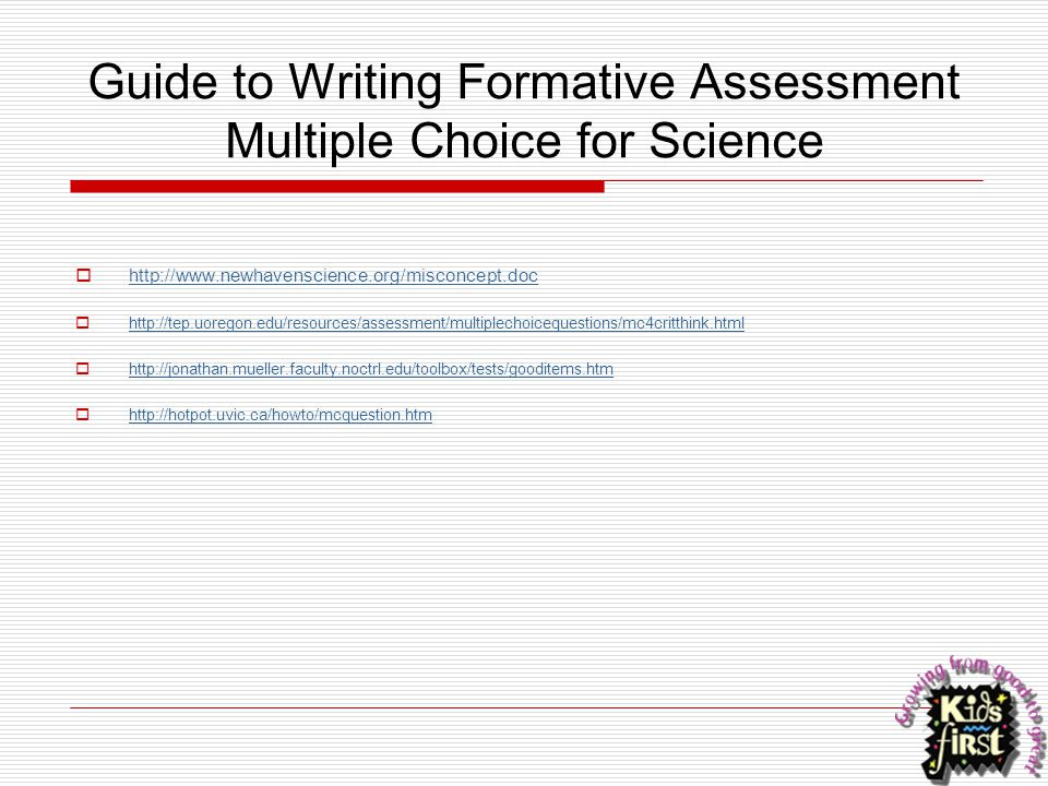 Guide to Writing Formative Assessment Multiple Choice for Science