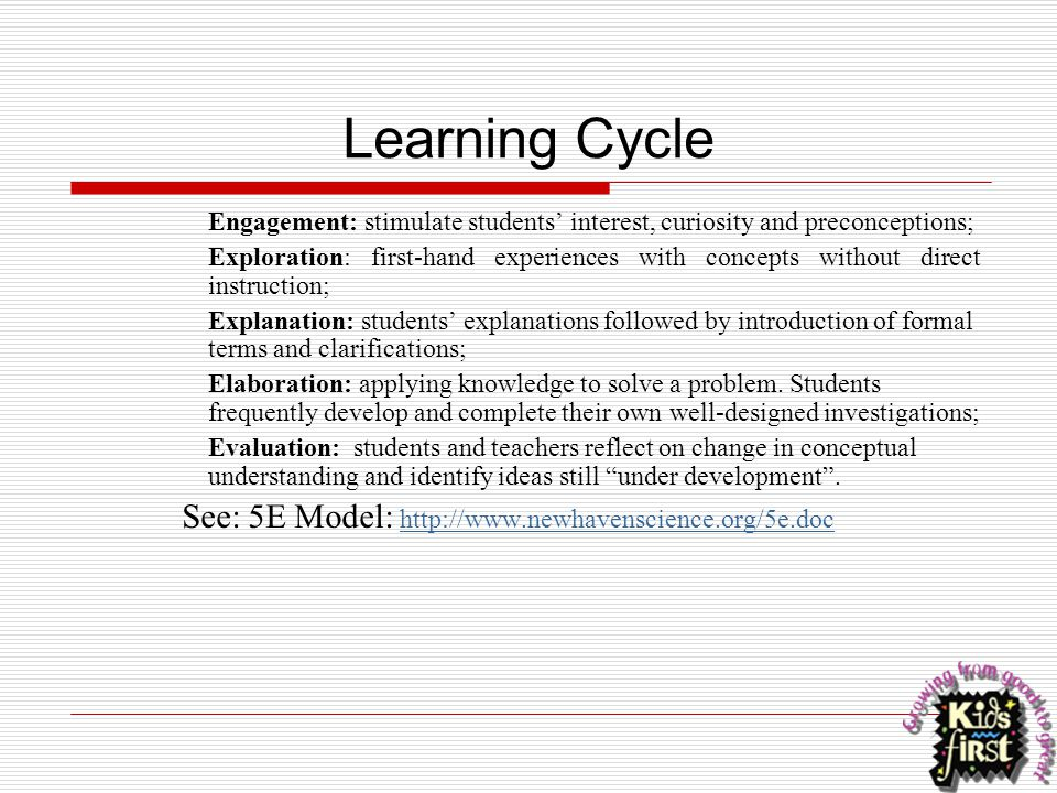 Learning Cycle See: 5E Model: http://www.newhavenscience.org/5e.doc