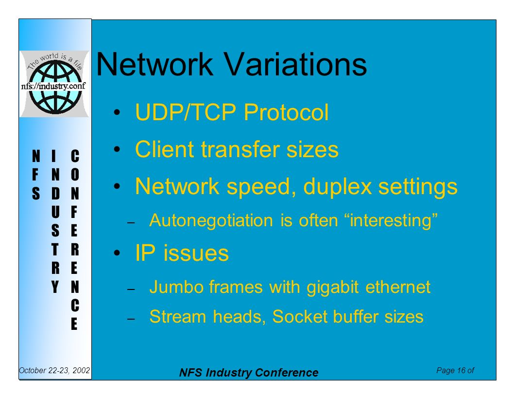 Network Variations UDP/TCP Protocol Client transfer sizes