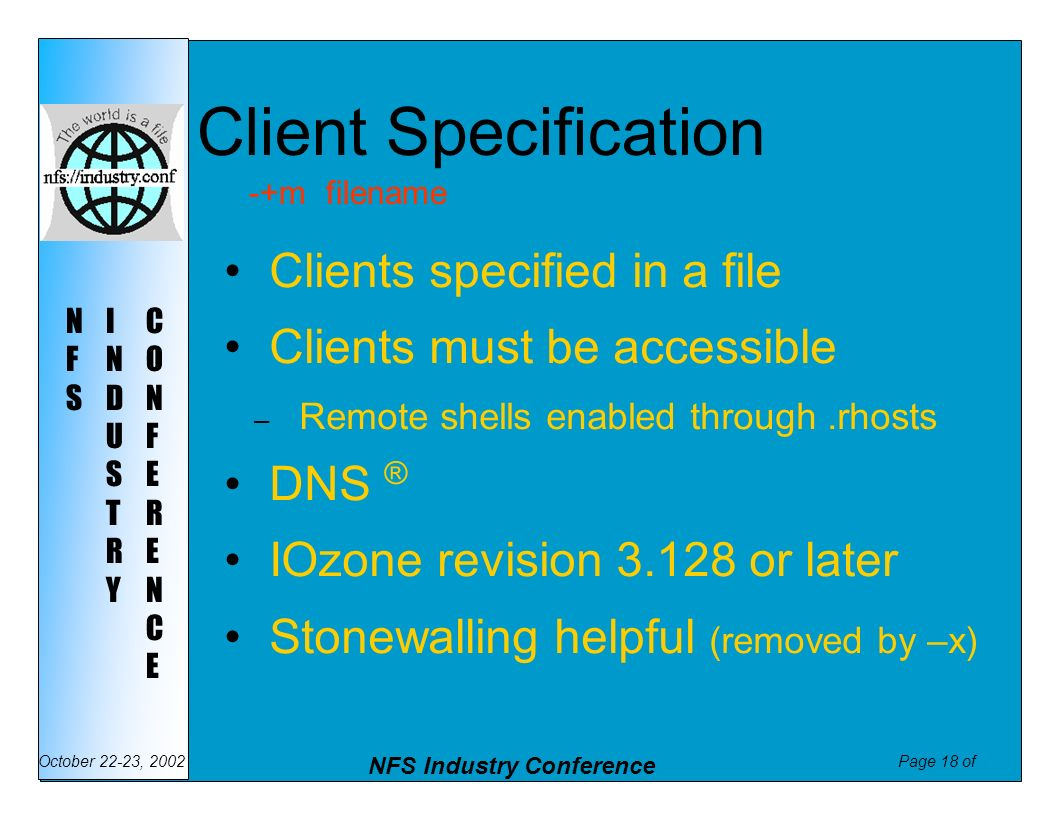 Client Specification Clients specified in a file