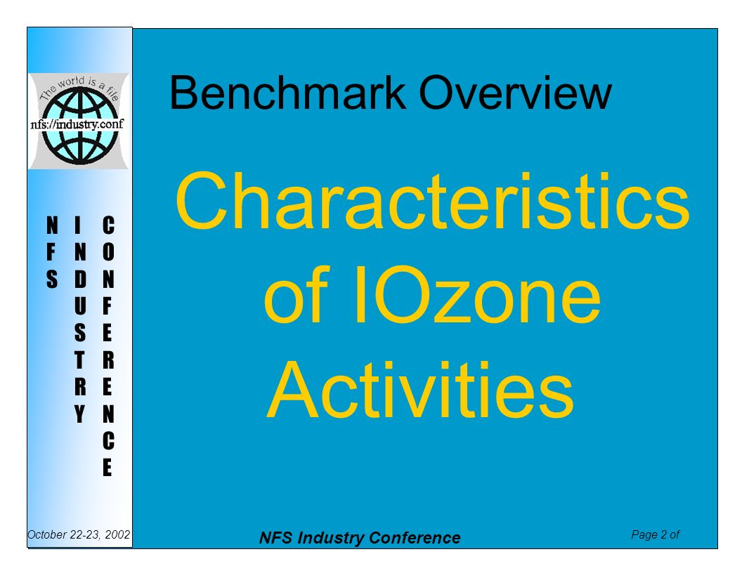 Benchmark Overview Characteristics of IOzone Activities