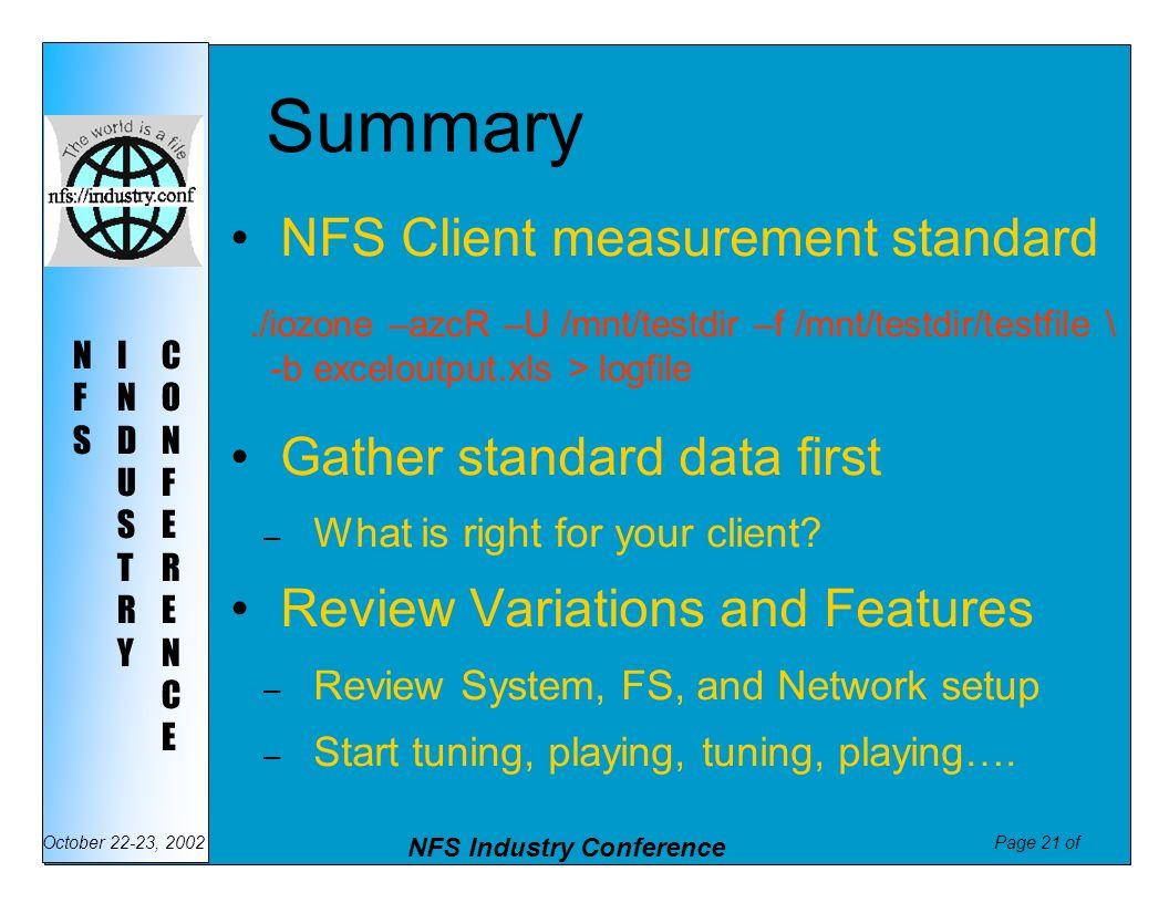 Summary NFS Client measurement standard Gather standard data first