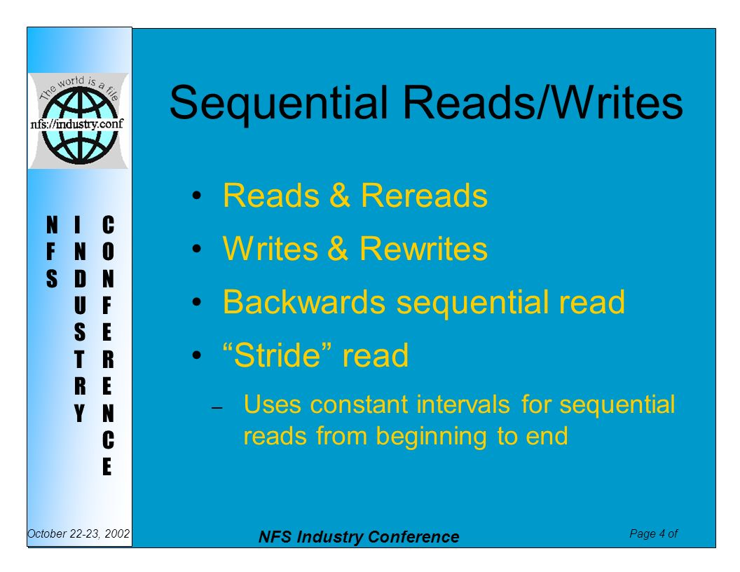 Sequential Reads/Writes