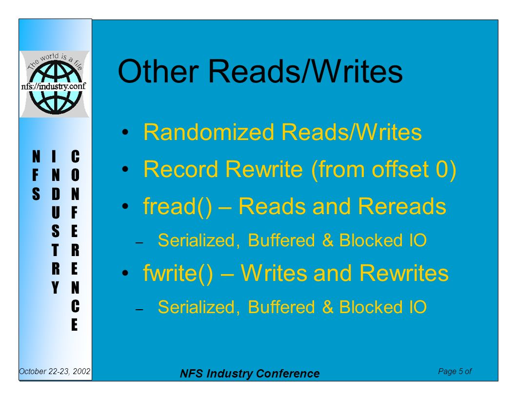 Other Reads/Writes Randomized Reads/Writes