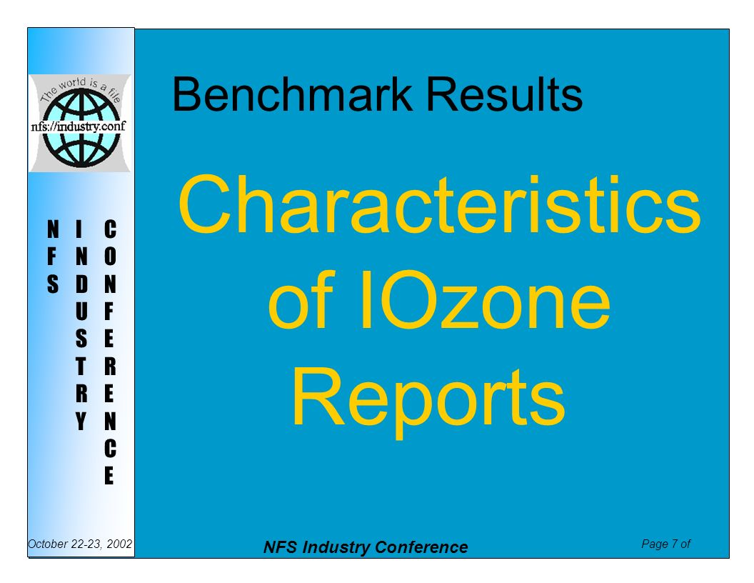 Benchmark Results Characteristics of IOzone Reports