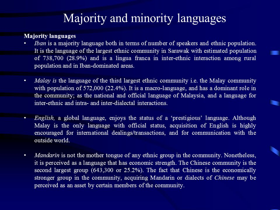 Majority and minority languages