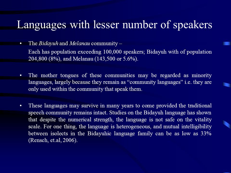 Languages with lesser number of speakers