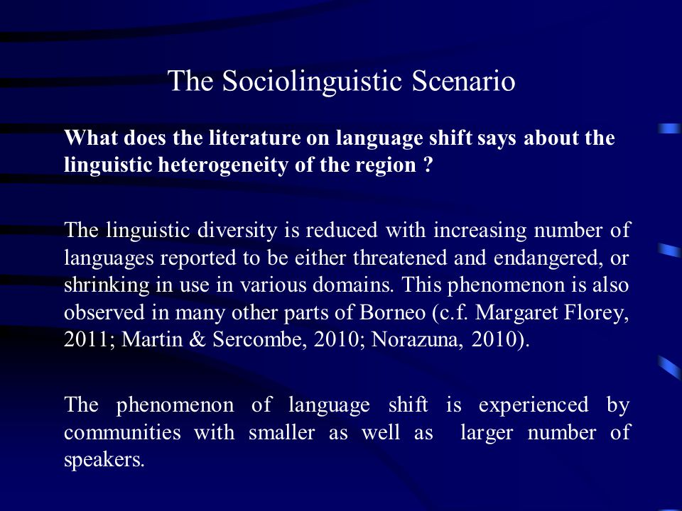 The Sociolinguistic Scenario