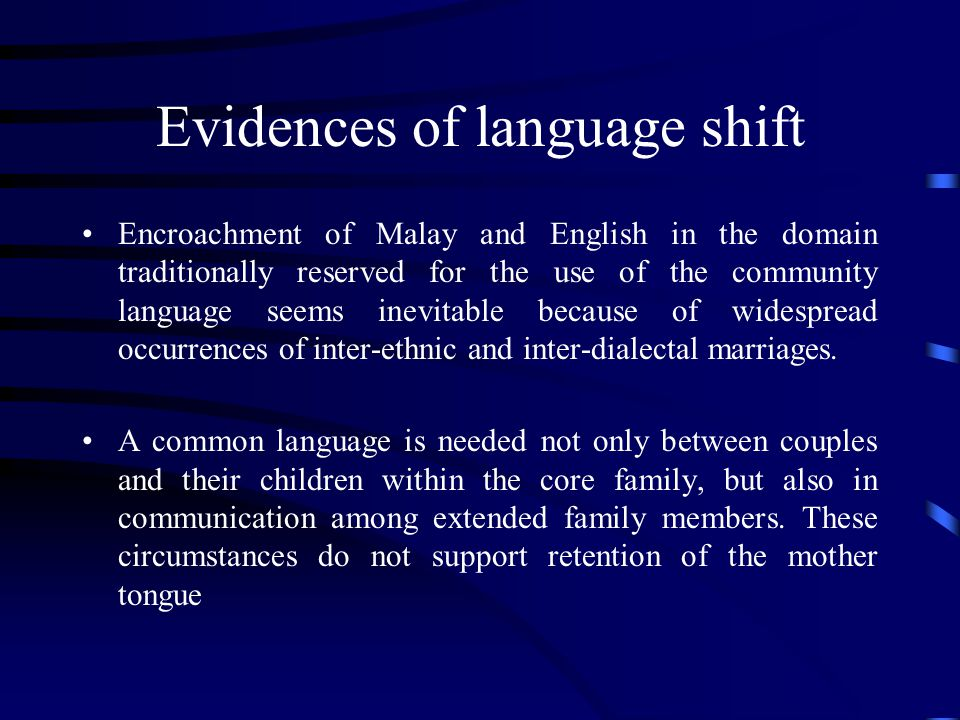 Evidences of language shift
