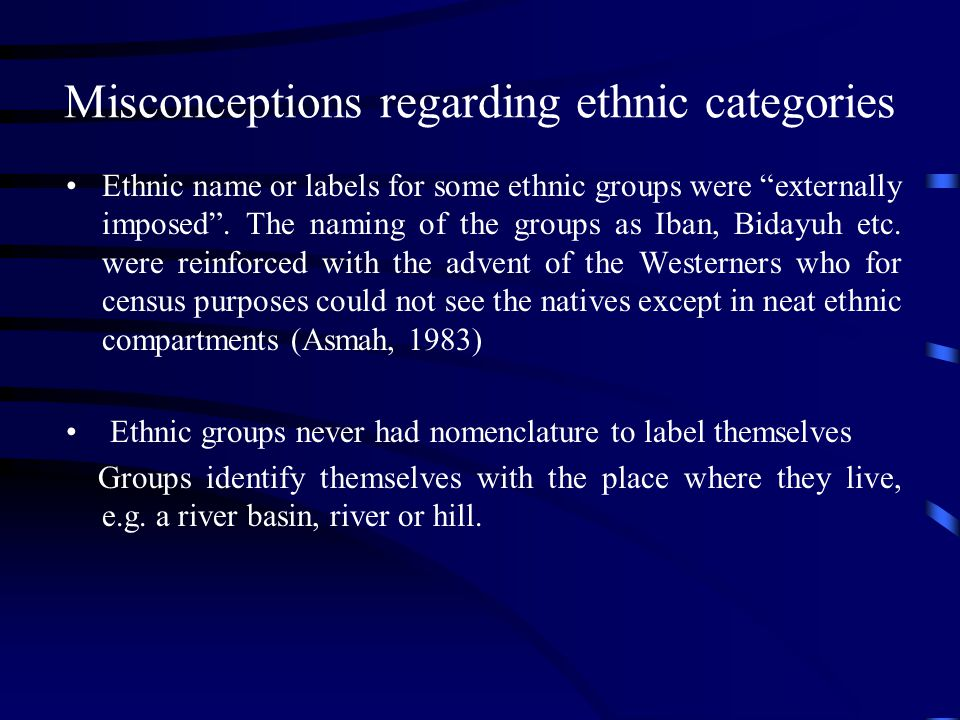 Misconceptions regarding ethnic categories