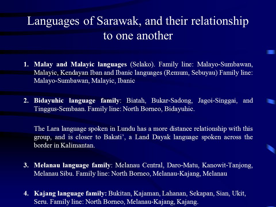 Languages of Sarawak, and their relationship to one another
