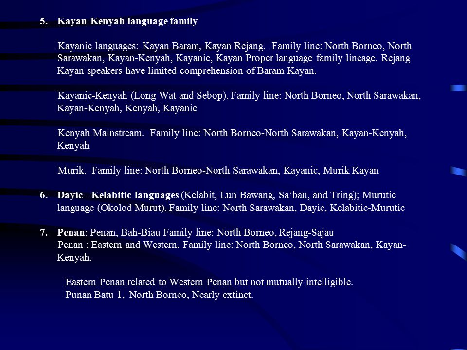 Kayan-Kenyah language family