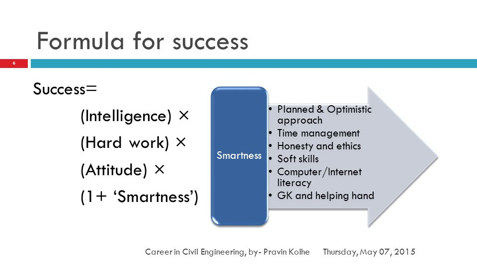 Formula for success Success= (Intelligence) × (Hard work) × (Attitude) × (1+ 'Smartness') Smartness.