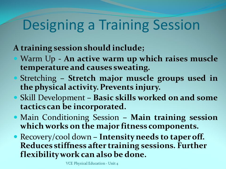 Designing a Training Session