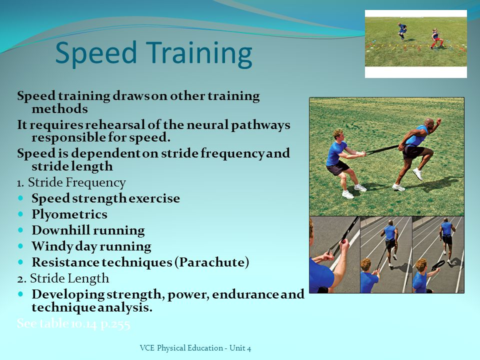 Speed Training Speed training draws on other training methods