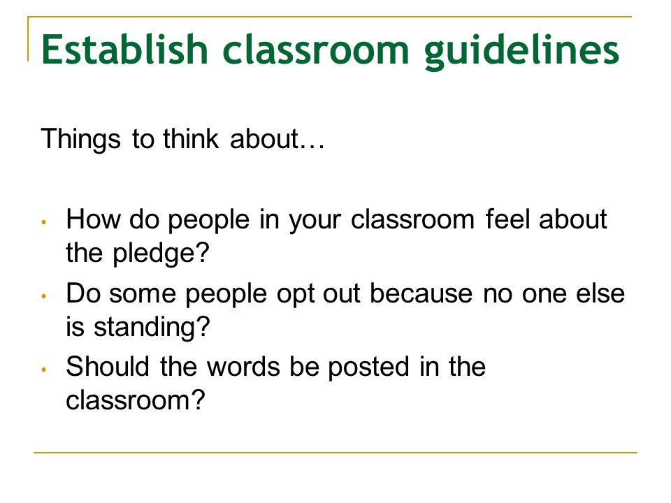 Establish classroom guidelines