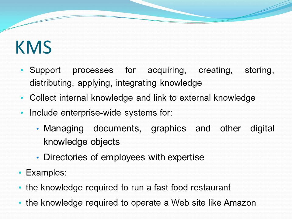 KMS Managing documents, graphics and other digital knowledge objects