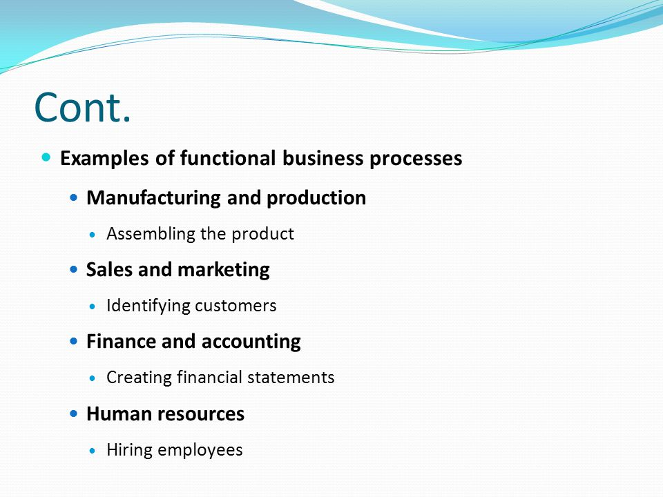 Cont. Examples of functional business processes