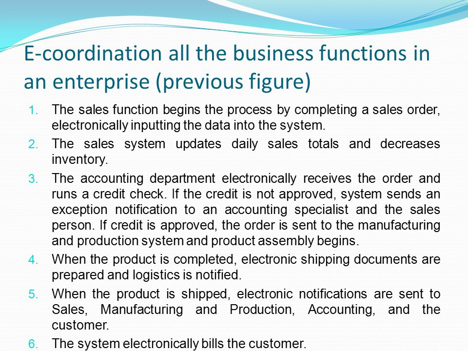 E-coordination all the business functions in an enterprise (previous figure)