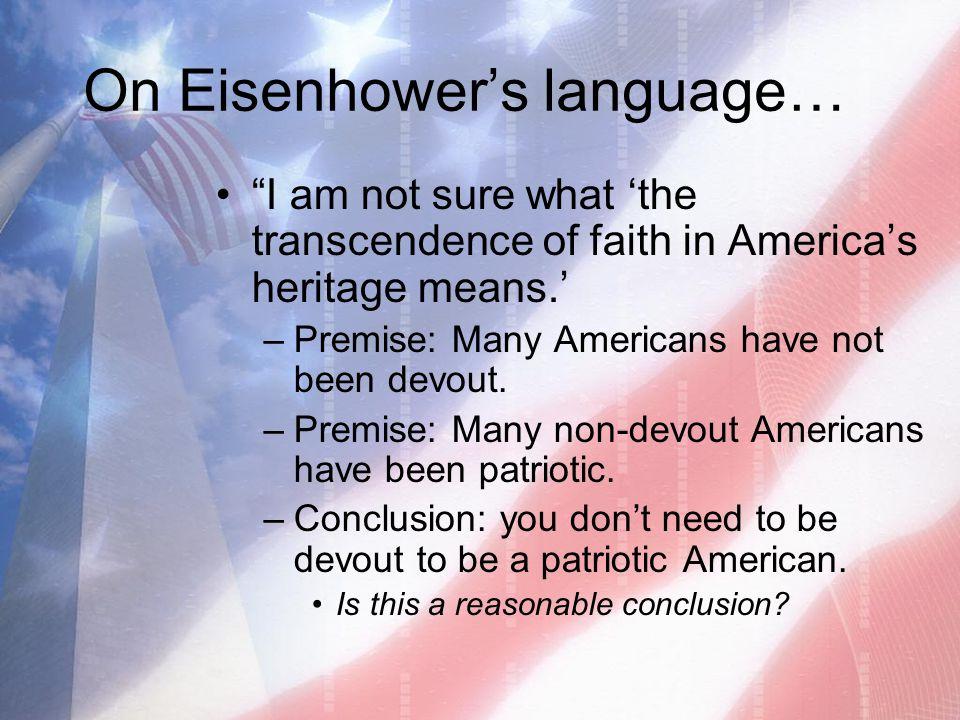 On Eisenhower's language…