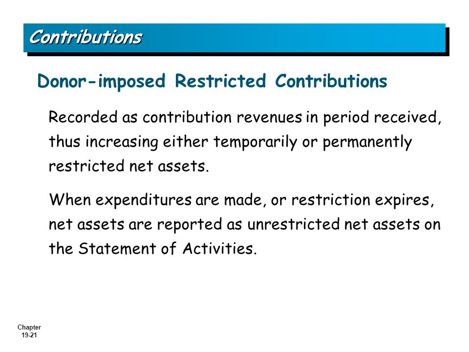 Donor-imposed Restricted Contributions