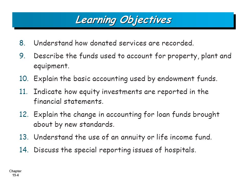Learning Objectives Understand how donated services are recorded.