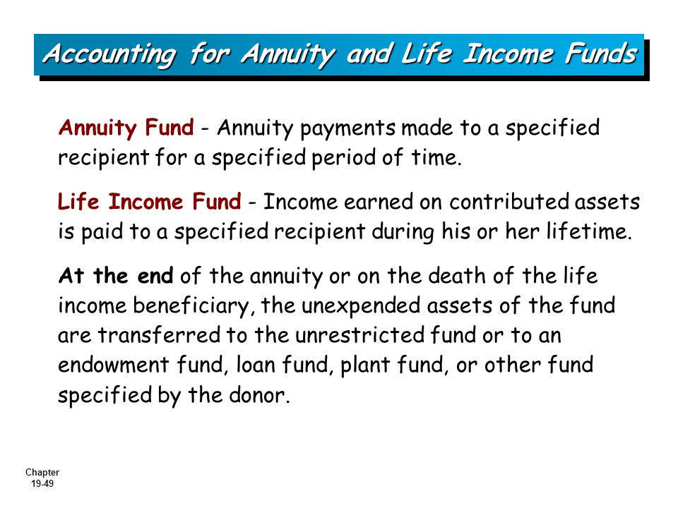 Accounting for Annuity and Life Income Funds