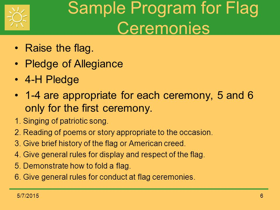 Sample Program for Flag Ceremonies