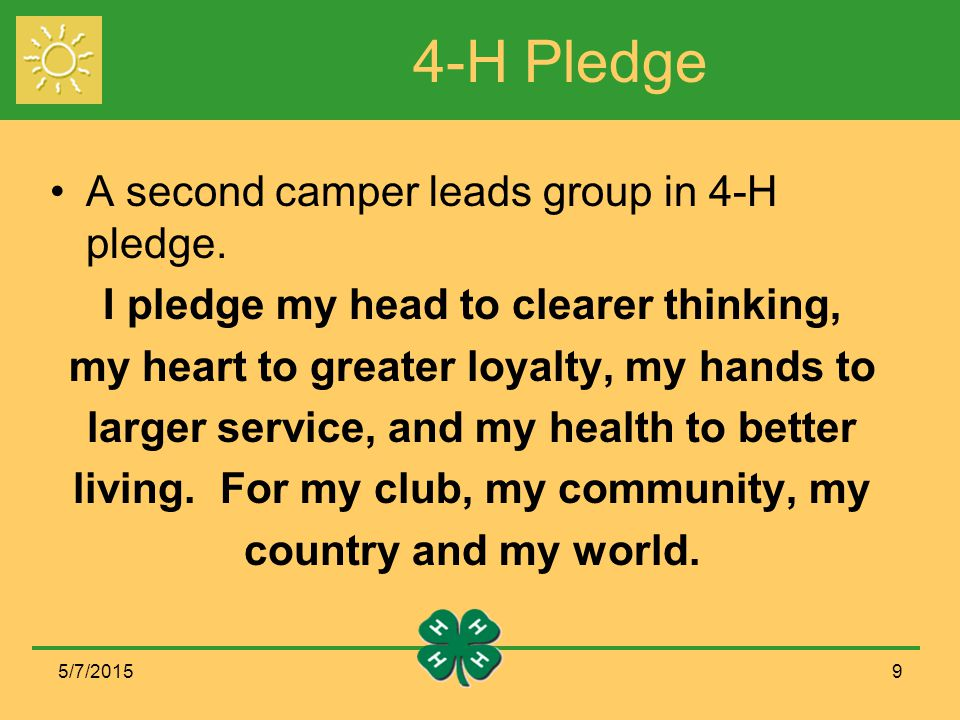 4-H Pledge A second camper leads group in 4-H pledge.