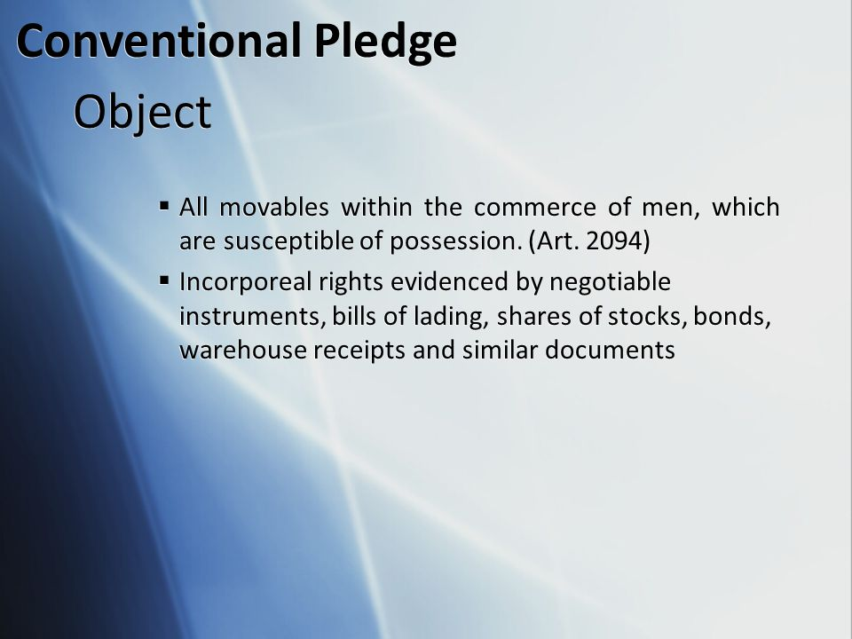 Conventional Pledge Object