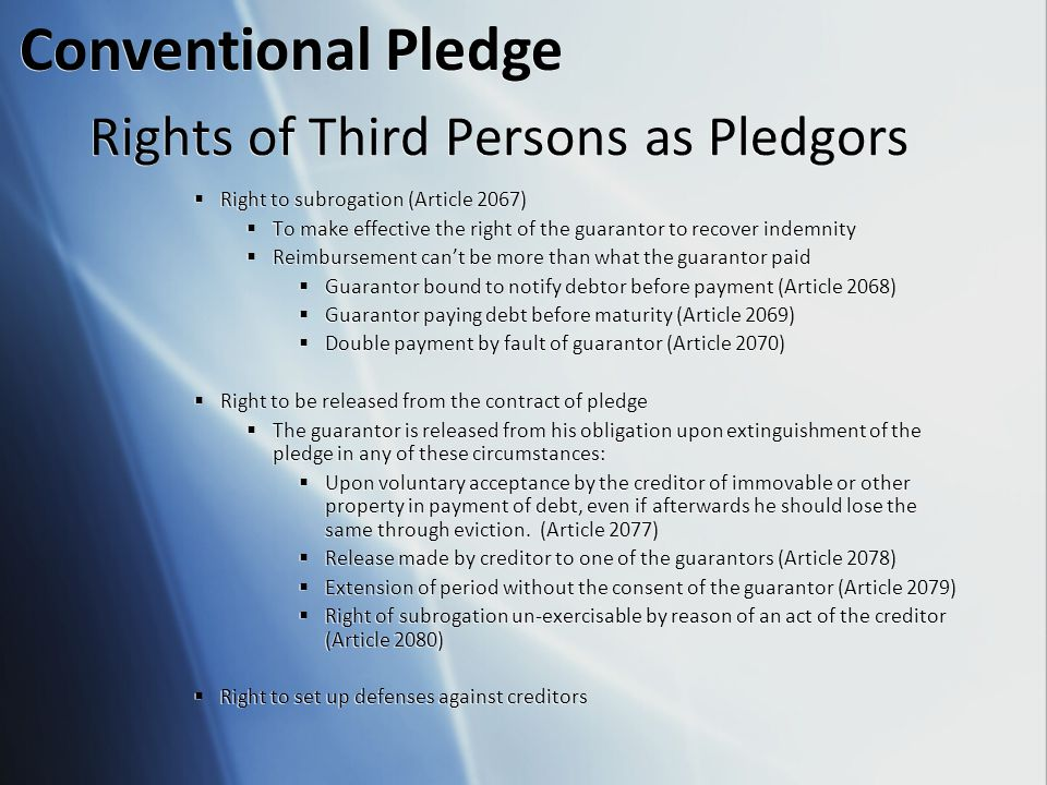 Rights of Third Persons as Pledgors