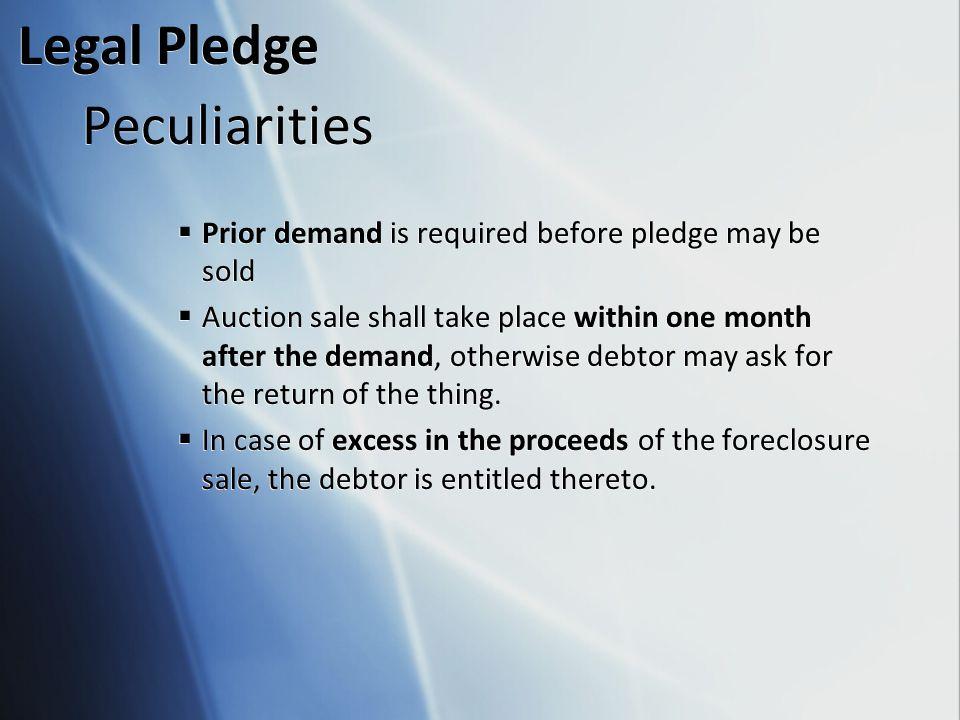 Legal Pledge Peculiarities