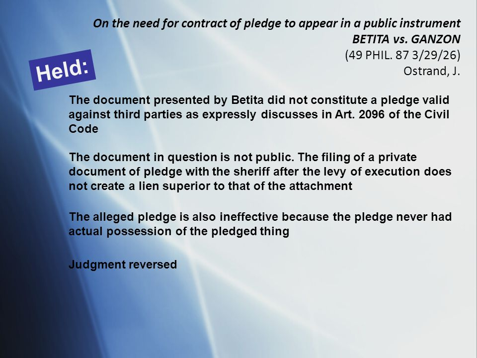 On the need for contract of pledge to appear in a public instrument