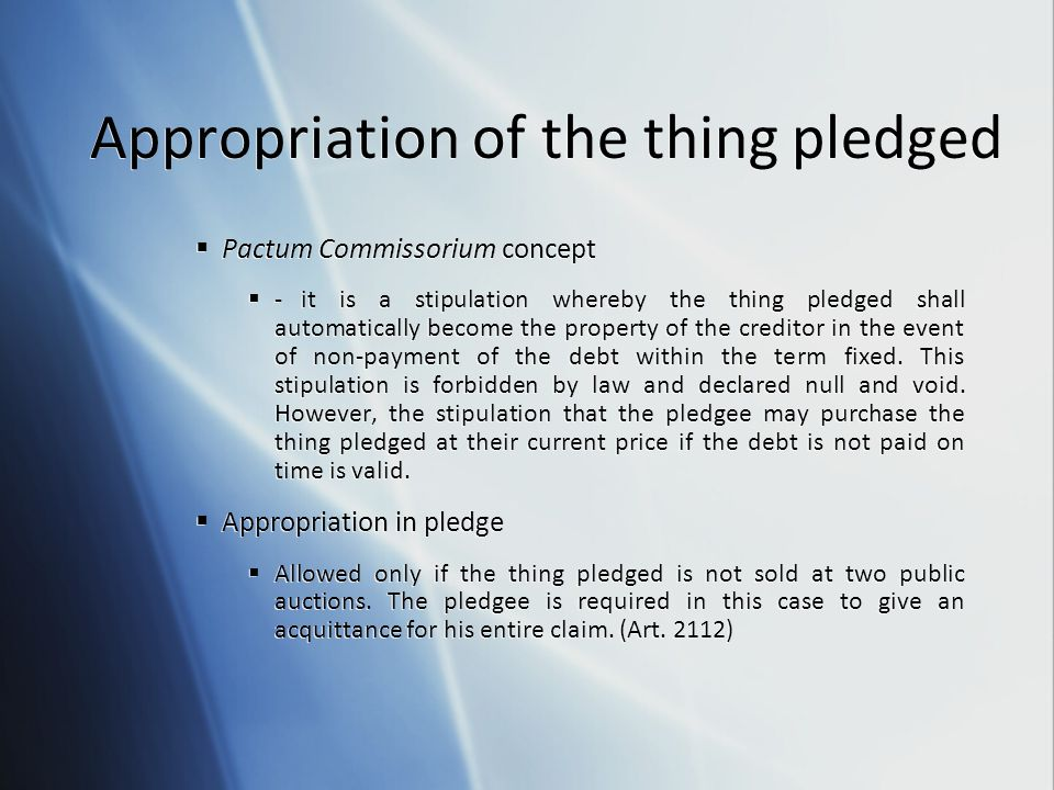 Appropriation of the thing pledged