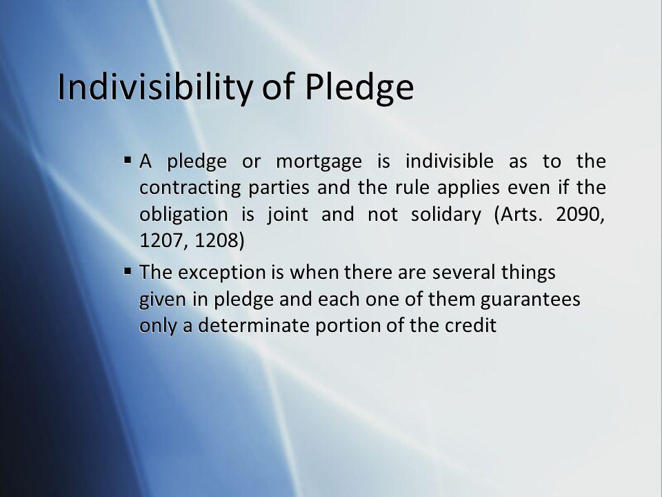 Indivisibility of Pledge