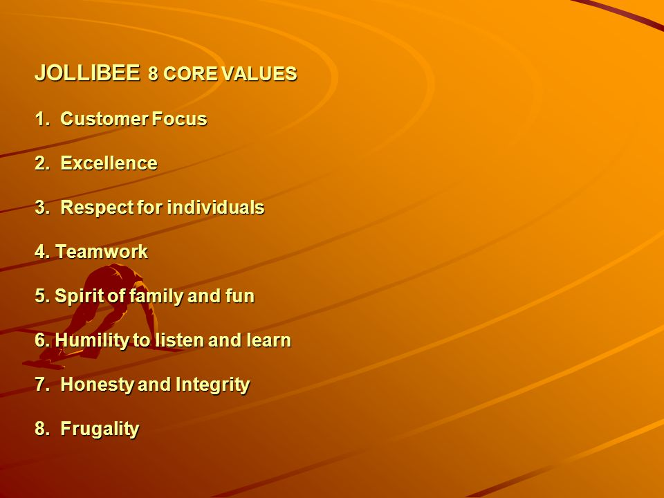 JOLLIBEE 8 CORE VALUES 1. Customer Focus 2. Excellence 3
