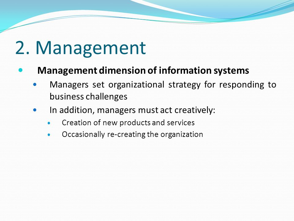 2. Management Management dimension of information systems