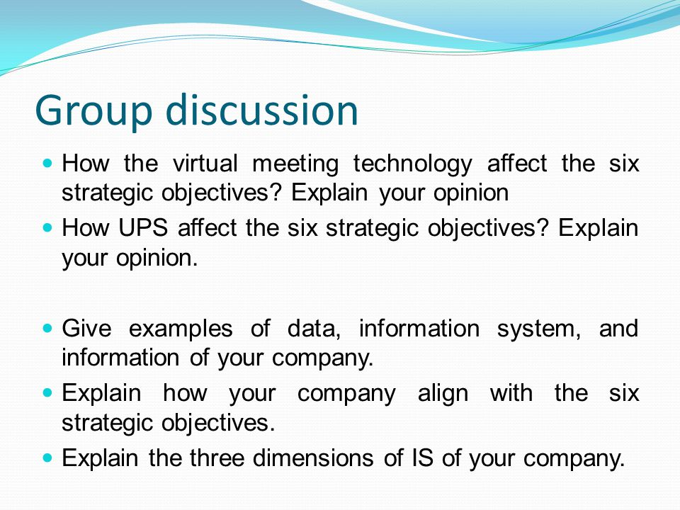 Group discussion How the virtual meeting technology affect the six strategic objectives Explain your opinion.