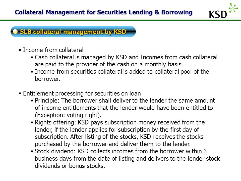 Collateral Management for Securities Lending & Borrowing